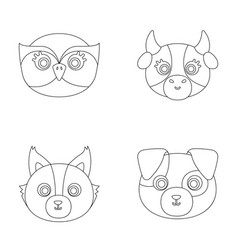Owl cow wolf dog animal s muzzle set vector