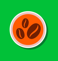 paper sticker on stylish background beans coffee vector image