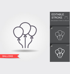 party balloons line icon with shadow and editable vector image