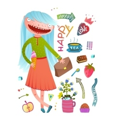 Pretty little girl fashion girlish design elements vector image