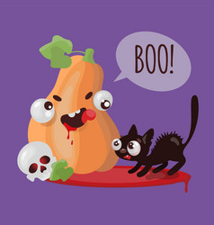 pumpkin cat halloween funny cartoon vector image