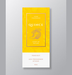 Quince home fragrance abstract label vector