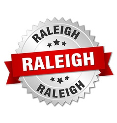 Raleigh round silver badge with red ribbon vector