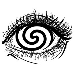 Realistic human eye with spiral hypnotic iris vector