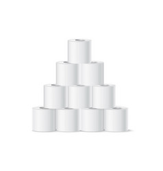 Realistic toilet paper roll pyramid white vector