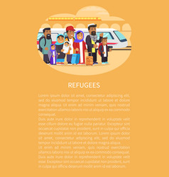 refugee people railway station vector image