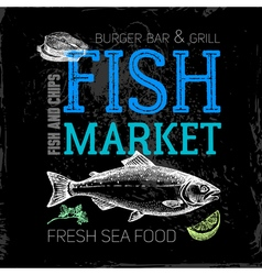 Restaurant sea food menu Fish market poster Hand vector image