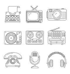 Retro media devices Icons in thin line style vector image