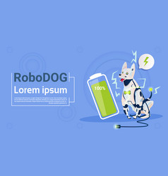 Robotic dog with full battery charge domestic vector