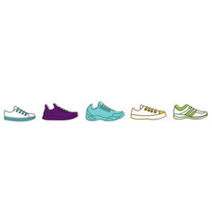 running shoes icon set color outline style vector image