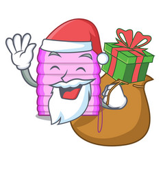 Santa with gift window with blinds isolated on vector