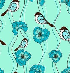 seamless pattern flowers and birds vector image