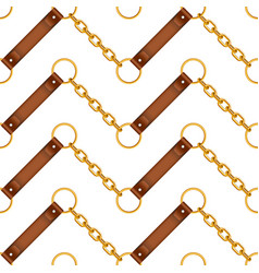 Seamless pattern gold chains and leather belts vector