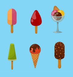 set ice cartoon colorful cream dessert vector image