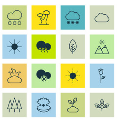Set of 16 nature icons includes love flower vector