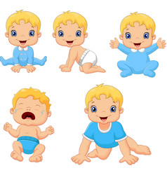 Set of cute little babies in various poses vector