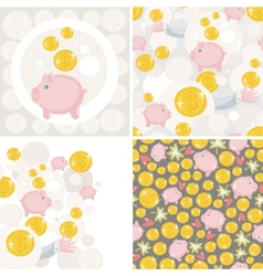 Set of four with saving pig vector image