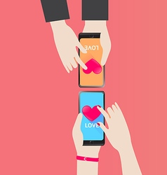 Smartphone Serch Heart for love in Valentine Day vector image
