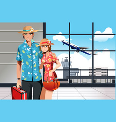 summer traveling couple vector image
