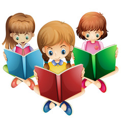 Three girls reading books vector