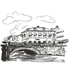 Town riverside sketch vector