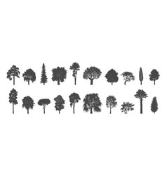 Trees silhouettes hand drawn images vector