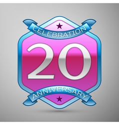 Twenty years anniversary celebration silver logo vector