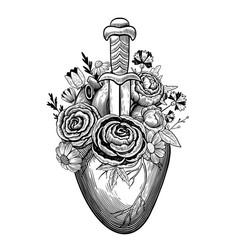 Vintage heart pierced dagger vector