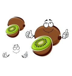 Whole and sliced kiwi fruit character vector image