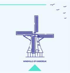 windmills of kinderdijk skyline vector image