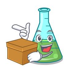 With box science beaker character cartoon vector