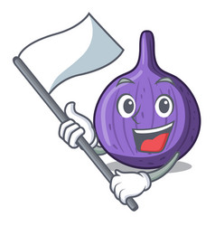 With flag tasty fig fruit isolated on mascot vector