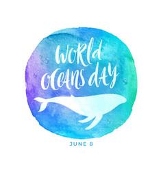 world oceans day emblem vector image