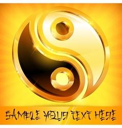 Yin yang gold symbol on vector