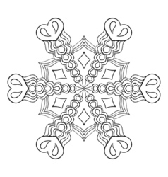 Zentangle elegant snow flake mandala for adult vector image