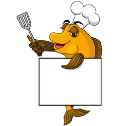 Cartoon cook fish vector image