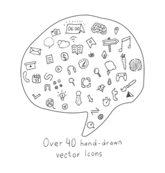 Collection of more than 40 Hand drawn Icons vector image vector image