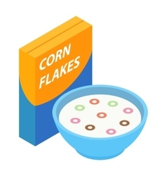 Corn flakes isometric 3d icon vector