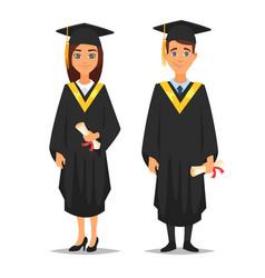 man and woman graduates vector image vector image