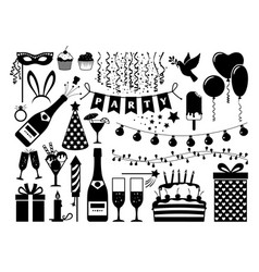 party black icons set vector image vector image