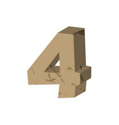 number 4 stone rock font four stones alphabet vector image