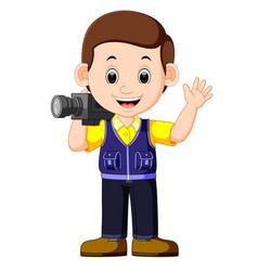 cute cartoon a cameraman vector image