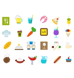 Diner isolated icons set vector image vector image