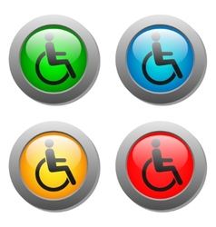 Disabled icon set on glass buttons vector image