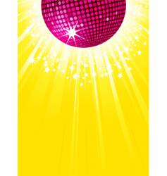 pink disco ball party background vector image