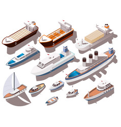 ships isometric set vector image