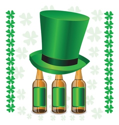 bottles of beer and green hat vector image vector image
