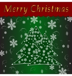 Christmas tree over green background vector