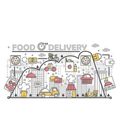 food delivery concept flat line art vector image