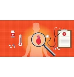 Heart attack disease with medical report vector